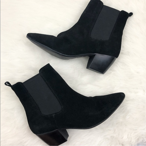 Topshop Black Suede Chelsea Ankle Boots